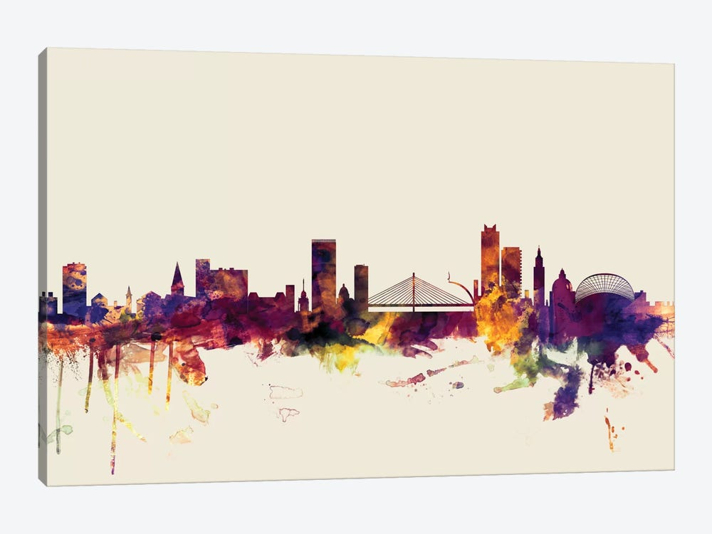 Skyline Series: Liege, Belgium On Beige by Michael Tompsett 1-piece Canvas Artwork
