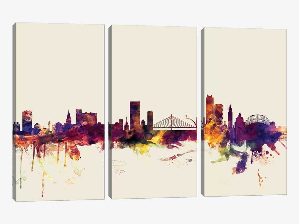 Skyline Series: Liege, Belgium On Beige by Michael Tompsett 3-piece Canvas Artwork