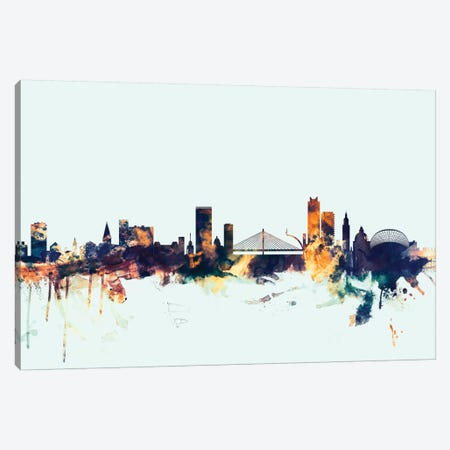 Liege, Belgium On Blue Canvas Print #MTO313} by Michael Tompsett Canvas Print