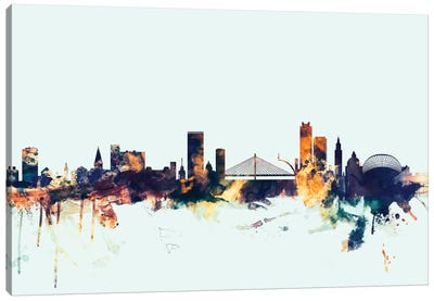 Skyline Series: Liege, Belgium On Blue Canvas Print #MTO313