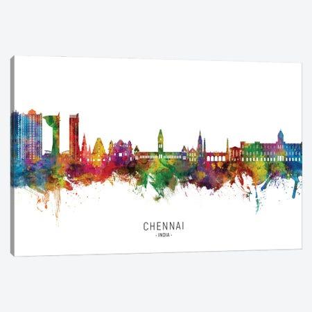 Chennai India Skyline City Name Canvas Print #MTO3142} by Michael Tompsett Canvas Wall Art