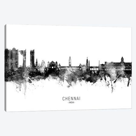 Chennai India Skyline Name Bw Canvas Print #MTO3143} by Michael Tompsett Canvas Art