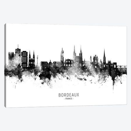 Bordeaux France Skyline Name Bw Canvas Print #MTO3148} by Michael Tompsett Canvas Art