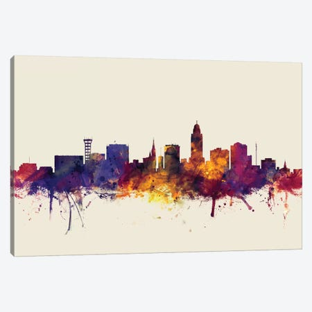 Lincoln, Nebraska, USA On Beige Canvas Print #MTO314} by Michael Tompsett Canvas Artwork
