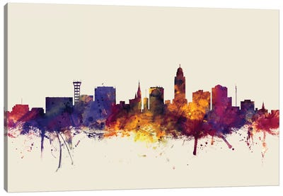 Skyline Series: Lincoln, Nebraska, USA On Beige Canvas Print #MTO314