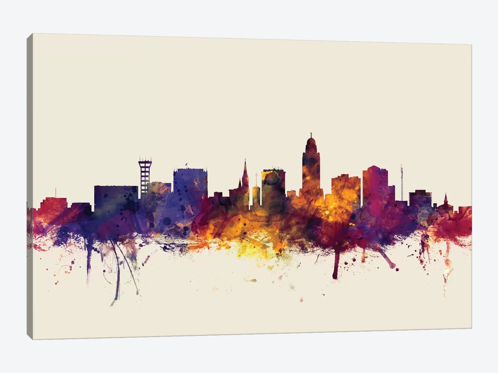 Skyline Series: Lincoln, Nebraska, USA On Beige 1-piece Canvas Artwork