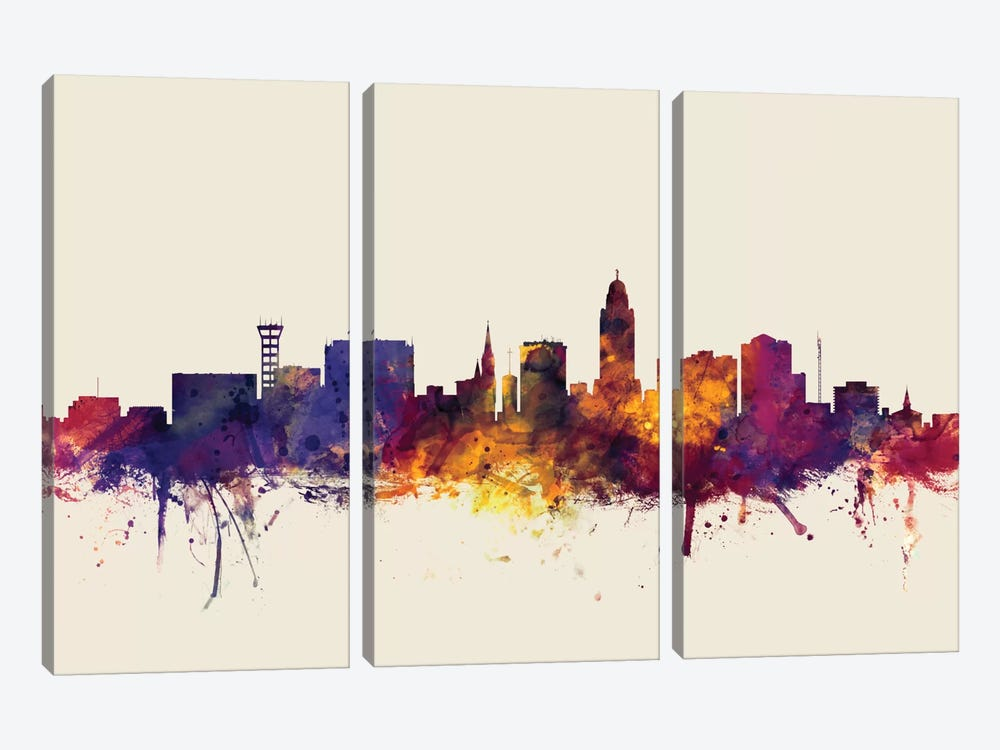 Lincoln, Nebraska, USA On Beige by Michael Tompsett 3-piece Canvas Art