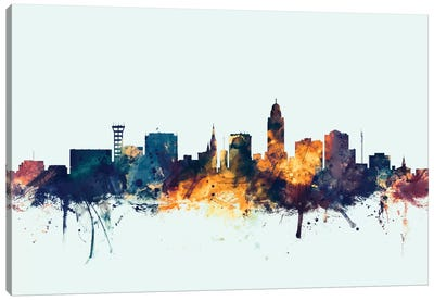 Skyline Series: Lincoln, Nebraska, USA On Blue Canvas Print #MTO315