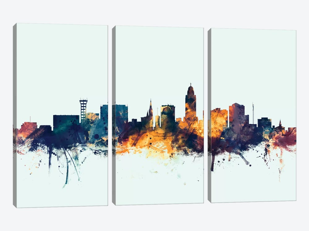 Lincoln, Nebraska, USA On Blue by Michael Tompsett 3-piece Canvas Print