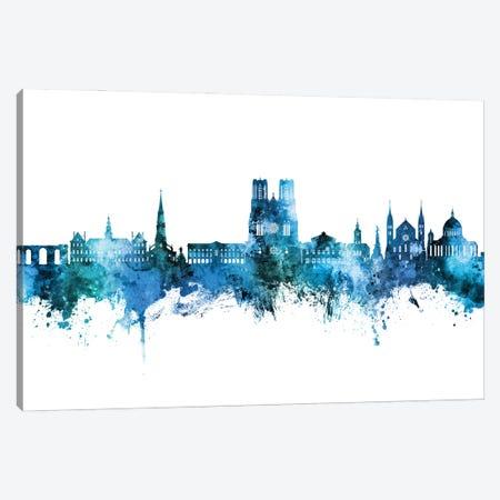 Reims France Skyline Blue Teal Canvas Print #MTO3161} by Michael Tompsett Canvas Art