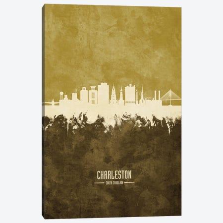 Charleston South Carolina Skyline Ochre Canvas Print #MTO3167} by Michael Tompsett Canvas Print