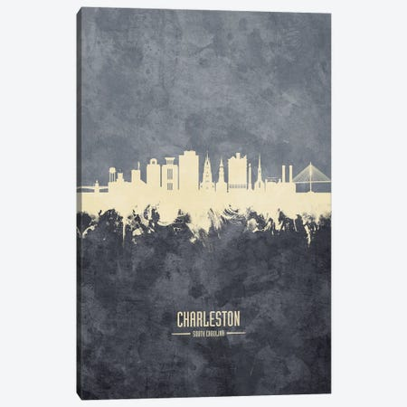 Charleston South Carolina Skyline Grey Canvas Print #MTO3168} by Michael Tompsett Canvas Wall Art