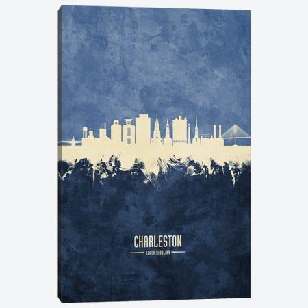 Charleston South Carolina Skyline Navy Canvas Print #MTO3169} by Michael Tompsett Canvas Artwork