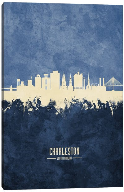 Charleston South Carolina Skyline Navy Canvas Art Print