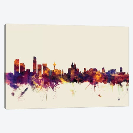 Liverpool, England, United Kingdom On Beige Canvas Print #MTO316} by Michael Tompsett Canvas Artwork