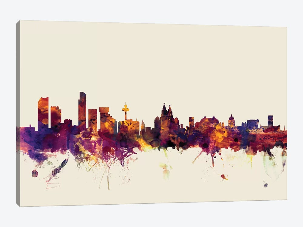 Skyline Series: Liverpool, England, United Kingdom On Beige 1-piece Canvas Art