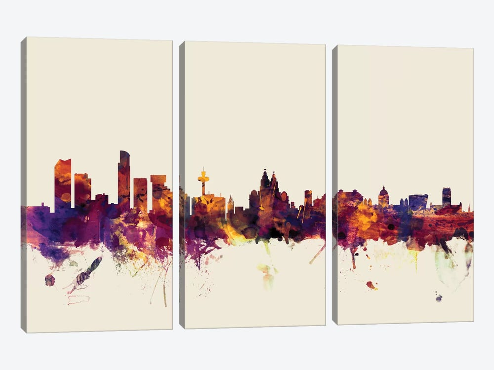 Skyline Series: Liverpool, England, United Kingdom On Beige 3-piece Canvas Artwork