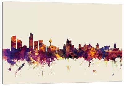 Liverpool, England, United Kingdom On Beige Canvas Art Print