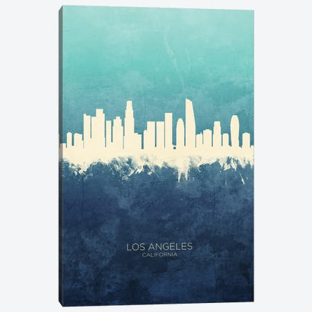 Los Angeles California Skyline Navy Cyan Canvas Print #MTO3171} by Michael Tompsett Canvas Art Print