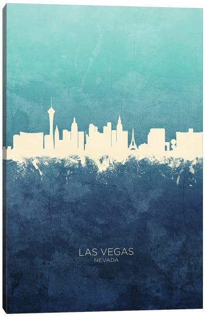 Las Vegas Nevada Skyline Navy Cyan Canvas Art Print