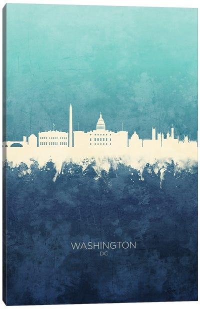 Washington DC Skyline Navy Cyan Canvas Art Print
