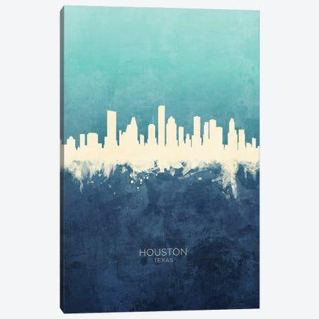 Houston Texas Skyline Navy Cyan Canvas Print #MTO3176} by Michael Tompsett Canvas Wall Art