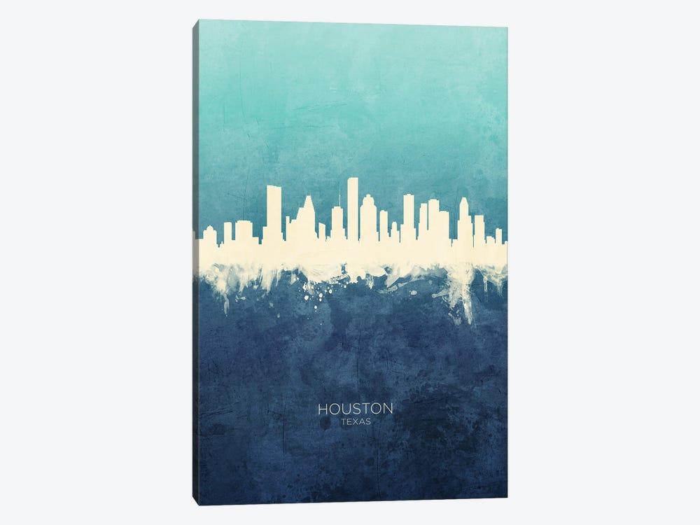 Houston Texas Skyline Navy Cyan by Michael Tompsett 1-piece Canvas Print