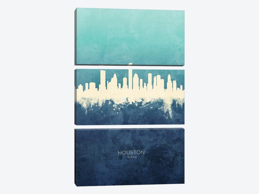 Houston Texas Skyline Navy Cyan by Michael Tompsett 3-piece Canvas Print