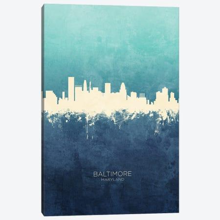 Baltimore Maryland Skyline Navy Cyan Canvas Print #MTO3177} by Michael Tompsett Canvas Wall Art