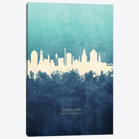 Durham North Carolina Skyline Navy Cyan Canvas Print #MTO3178} by Michael Tompsett Canvas Print