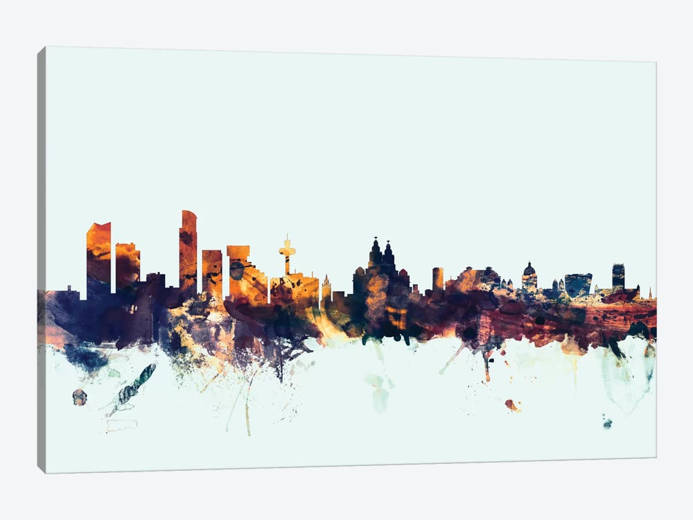 Skyline Series: Liverpool, England, United Kingdom On Blue 1-piece Canvas Art Print