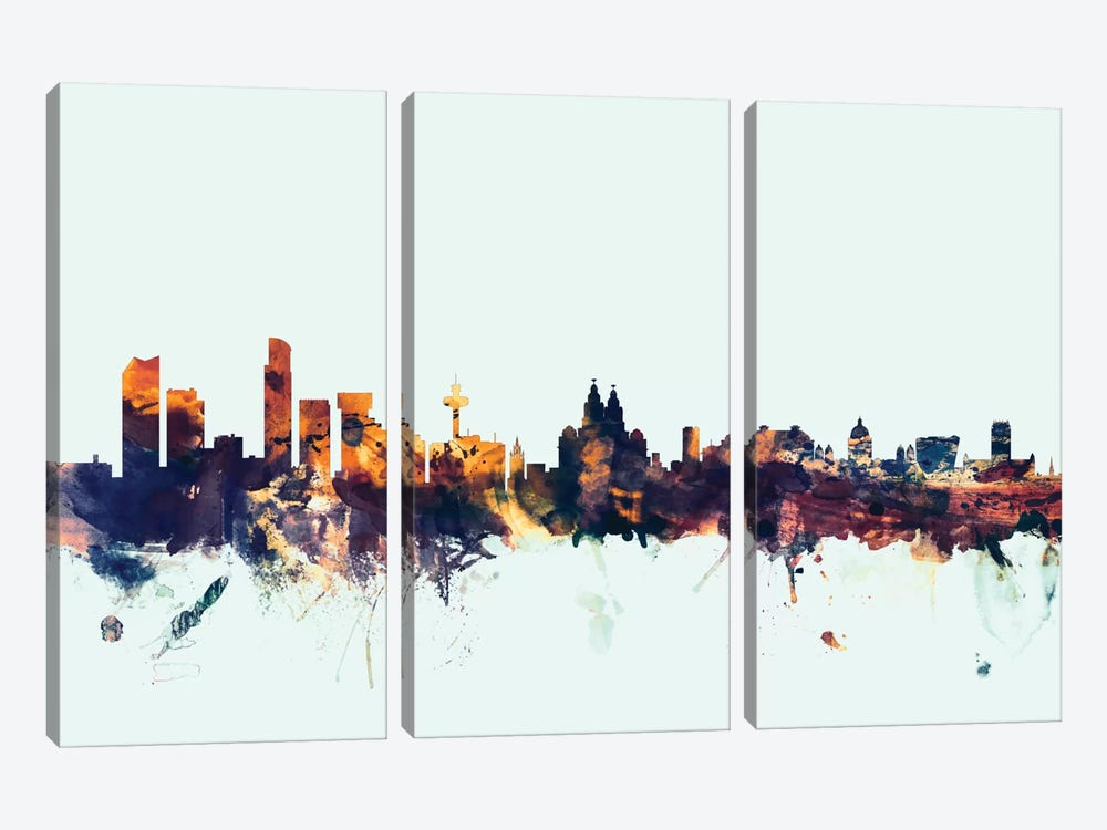 Skyline Series: Liverpool, England, United Kingdom On Blue 3-piece Canvas Print