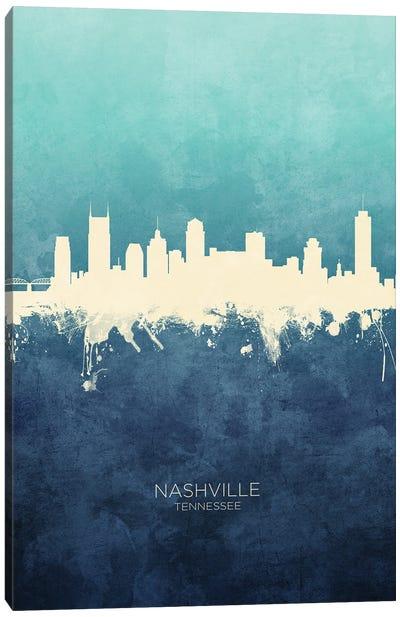 Nashville Tennessee Skyline Navy Cyan Canvas Art Print