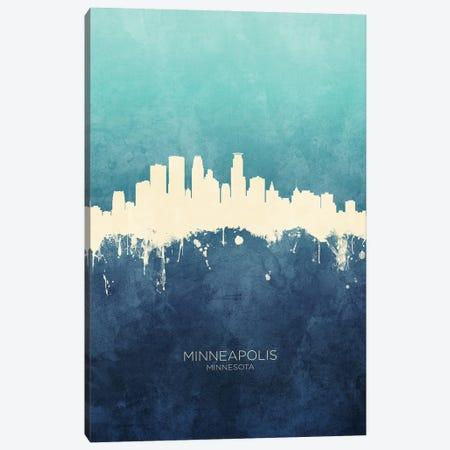 Minneapolis Minnesota Skyline Navy Cyan Canvas Print #MTO3181} by Michael Tompsett Canvas Art