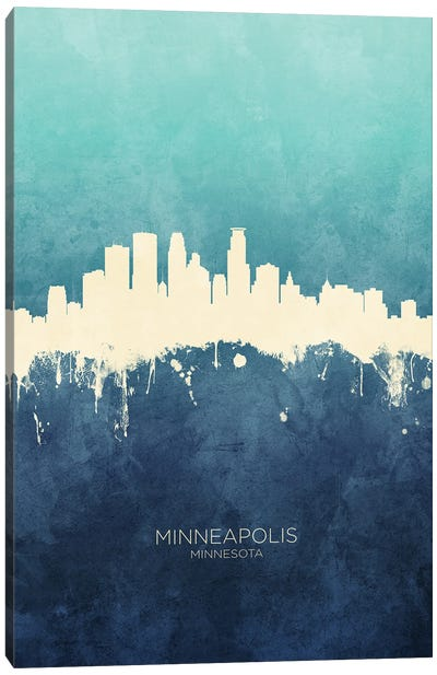 Minneapolis Minnesota Skyline Navy Cyan Canvas Art Print