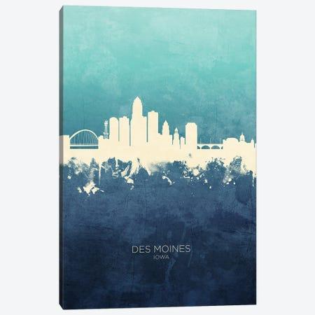 Des Moines Iowa Skyline Navy Cyan Canvas Print #MTO3183} by Michael Tompsett Canvas Artwork