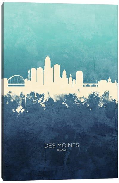 Des Moines Iowa Skyline Navy Cyan Canvas Art Print