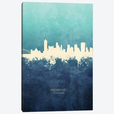 Memphis Tennessee Skyline Navy Cyan Canvas Print #MTO3185} by Michael Tompsett Canvas Art Print