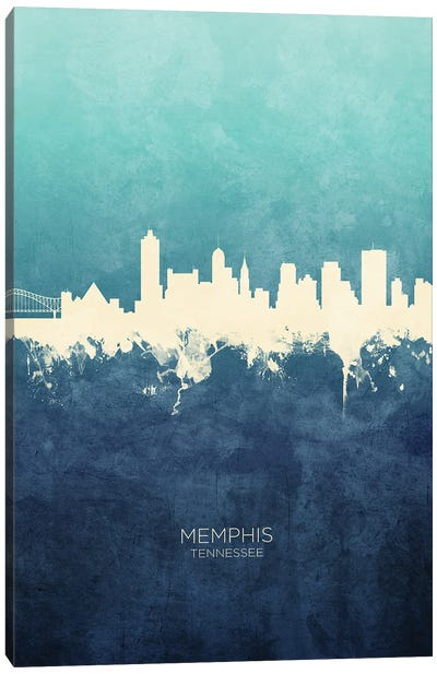 Memphis Tennessee Skyline Navy Cyan Canvas Art Print