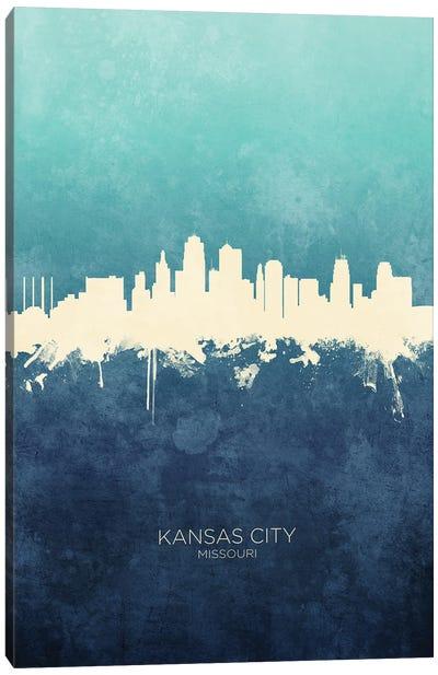Kansas City Missouri Skyline Navy Cyan Canvas Art Print