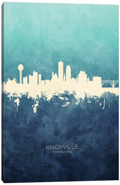 Knoxville Tennessee Skyline Navy Cyan Canvas Art Print