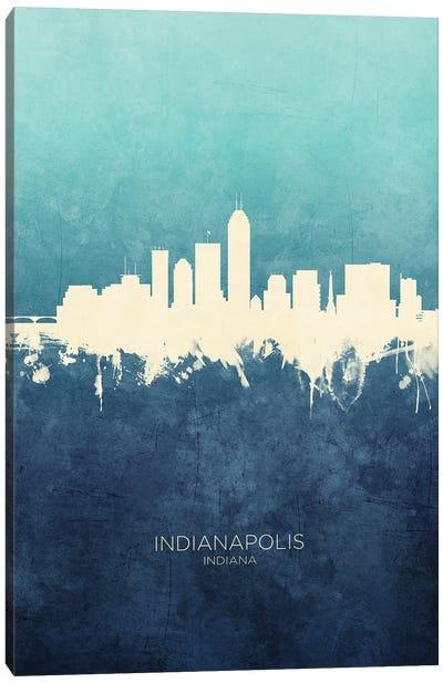 Indianapolis Indiana Skyline Navy Cyan Canvas Art Print