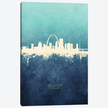 St Louis Missouri Skyline Navy Cyan Canvas Print #MTO3189} by Michael Tompsett Canvas Artwork