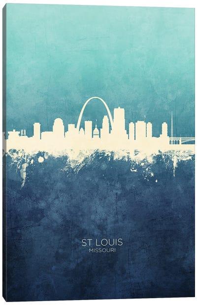 St Louis Missouri Skyline Navy Cyan Canvas Art Print