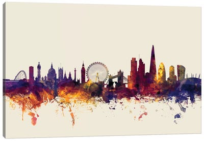 London, England, United Kingdom I On Beige Canvas Art Print