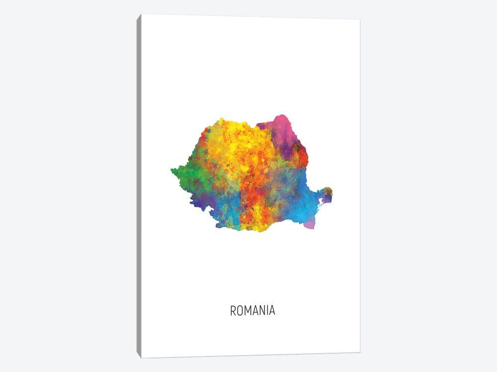 Romania Map by Michael Tompsett 1-piece Canvas Art Print