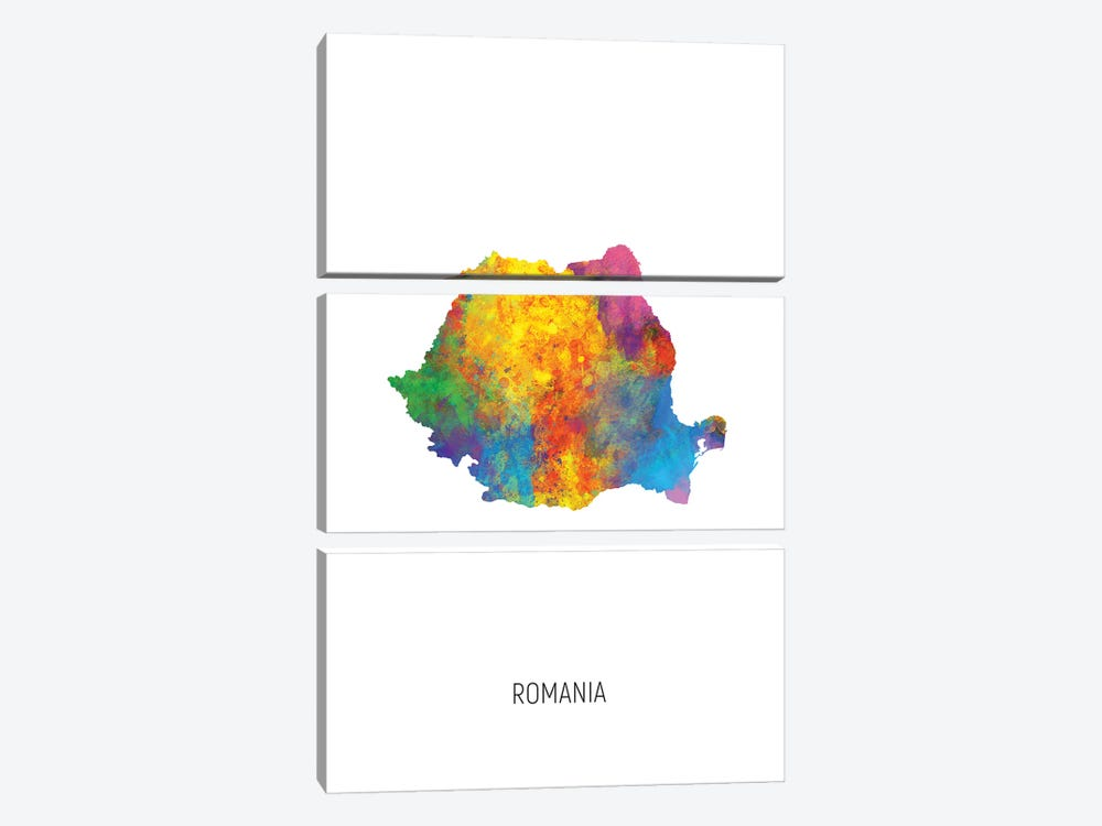 Romania Map by Michael Tompsett 3-piece Canvas Art Print