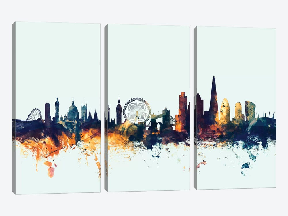 London, England, United Kingdom I On Blue by Michael Tompsett 3-piece Canvas Art Print