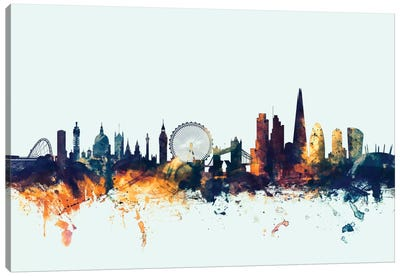 London, England, United Kingdom I On Blue Canvas Art Print