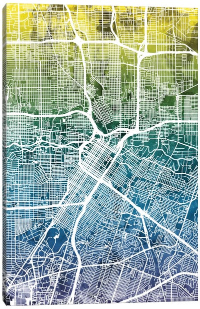 Color Gradient Urban Street Map Series: Houston, Texas, USA Canvas Print #MTO31